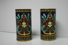 2 Chinese cloisonné brush pots - China - mid-20th century