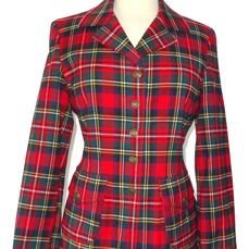 Moschino - super cute tailored fit blazer in a great plaid pattern and with unusual Moschino buttons.