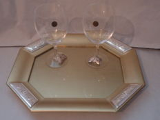 Gilt walnut wood tray and crystal stem glasses with 925 silver decoration