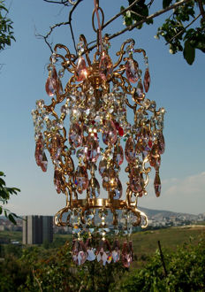 Brass and Pink Crystal Chandelier, 21st century