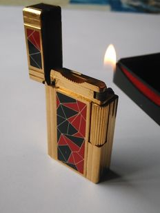 S.T Dupont lighter - FRENCH REVOLUTION MOZAIC 1789/1989 collection - gold plated/Chinese lacquer - Limited edition of 2000 ex.