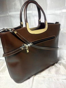 Handbag in genuine vachetta leather - Fior di Loto, Florence, Italy
