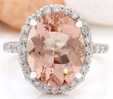 White gold ring with a Morganite and Diamonds for a total of 6.57 ct ct - No reserve price