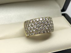 WEMPE Bague 7 rangs Diamants 3.5/4 carats total vers 2000 - Taille FR 53/54