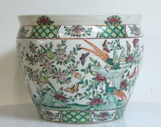 Fishing bowl in famille rose - China - 2nd half 20th century