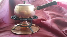 Complete copper fondue set