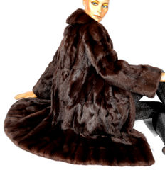 Cuddly fur coat made of squirrel fur, soft, dark brown squirrel fur coat