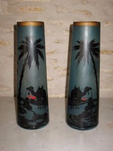 A pair of large vases - hand-painted - Oriental decoration with palm trees and sun - France - first half of 20th century