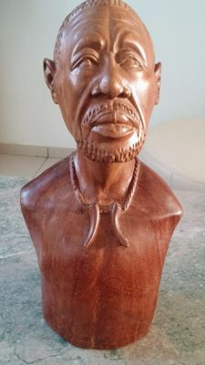Beautiful heavy wooden bust of an African man 2nd half 20th century