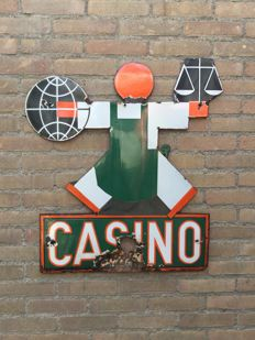 "Vintage art deco enamel French Casino billboard ""Casino"""