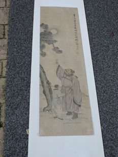 Scroll painting – wise old man with student – China – mid 20th century