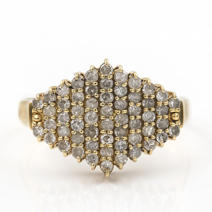 Yellow gold 18 kt/750 - Cocktail ring - Diamond 1.00 ct - Interior diameter 16.47 mm