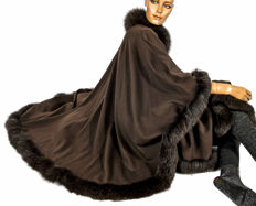 The Cathalo Paris luxury wool coat with cashmere angora fox fur trim cape poncho swinger