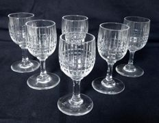 6 Baccarat crystal liquor glasses, model Nancy - France - 1909-1936 - signed