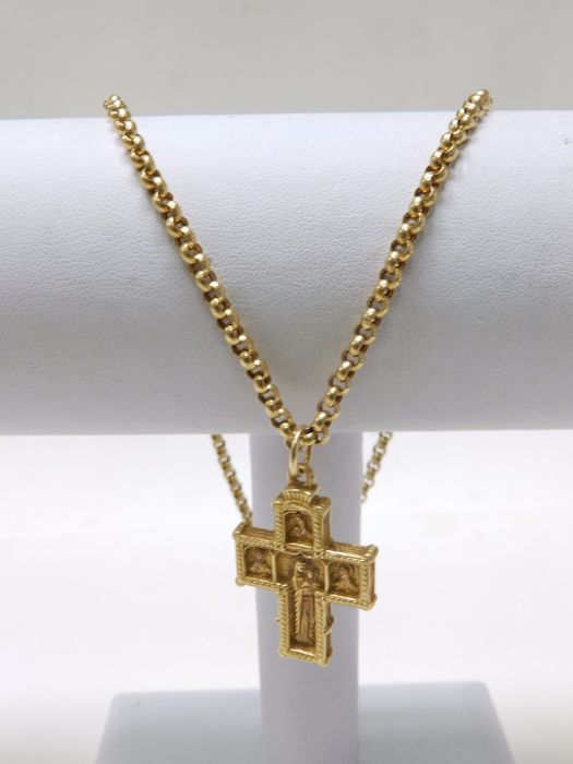 Forxat-type necklace with Byzantine cross in 18 kt gold. - Length: 40 cm Cross size: 30 x 20 mm