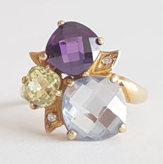 18 kt yellow gold ring one topaz, one amethyst and one peridot - Size: 19.1 mm 20/60 (EU)