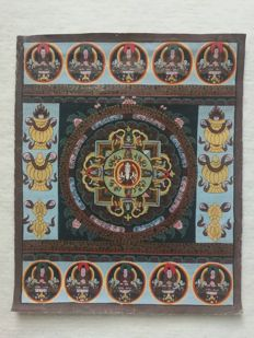 Thangka painted by hand ±35x45cm - Tibet - second half of 20th century