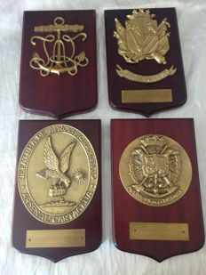 Four Vintage Bronze Marine Metopes