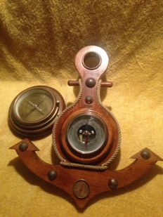 Vintage wooden anchor with barometer and thermometer branded Mentón Bronze and wood Compass