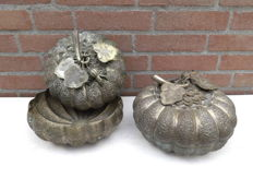 Two large copper boxes/bowls in the form of pumpkins. 1960, Turkey