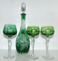 Bleikristall decanter with three hand cut glasses