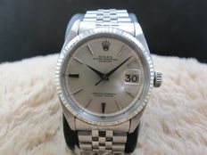 "1962 ROLEX DATEJUST 1601 SS ORIGINAL NON LUME SILVER ""SWISS"" DIAL WITH LEAF HANDS"