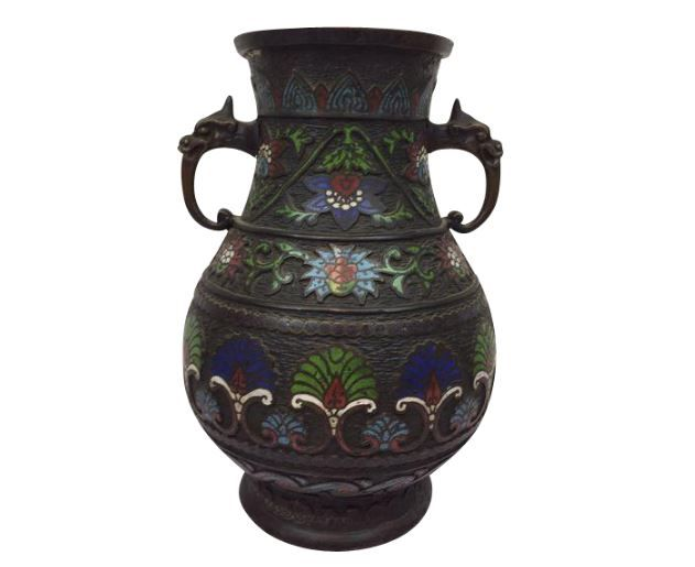 Bronze Cloisonn Champlev Vase With Pattern Japan Approx 1890
