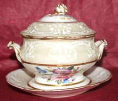 Copeland (?) - antique gravy boat with saucer