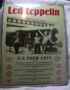 Cool Led Zeppelin, vintage style metal wall plaque( 30 cm x 40 cm )Large size metal wall sign. US Tour 1977.