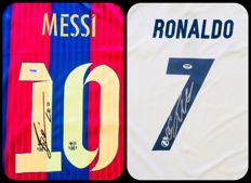 Messi & Cristiano Ronaldo - Lot of ( 2 ) Signed Home Jerseys  -  with Certificate of Authenticity PSA/DNA