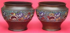 Antique pair of quality bronze cloisonne temple bowls - Japan - Late 19th/early 20th century (Meiji Period)