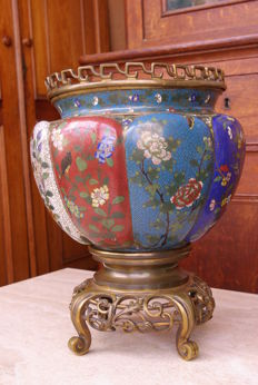 Cloisonne enamel melon jar, Style Napoleon III - China - 19th century.