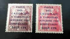 Spain1950 – Visit of the Caudillo (Franco) to the Canary Islands Soro certificate – Edifil 1083A/1083B