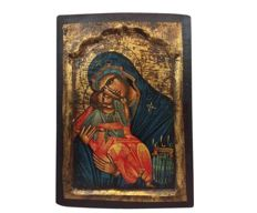Byzantine icon; oil painting with gold leaf on wood background - Early 20th Century