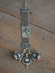 Vintage Dutch Silver Chatelaine Pocket watch chain