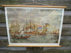 Beautiful linen school poster that can be rolled up: Incoming fleet for Amsterdam, 1665