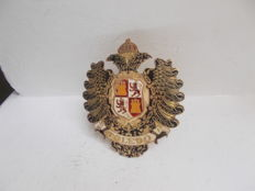 early vintage SPAIN TOLEDO brass and enamel car badge stunning detail original unrestored