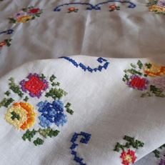 Hand embroidered coloured tablecloth - Italy