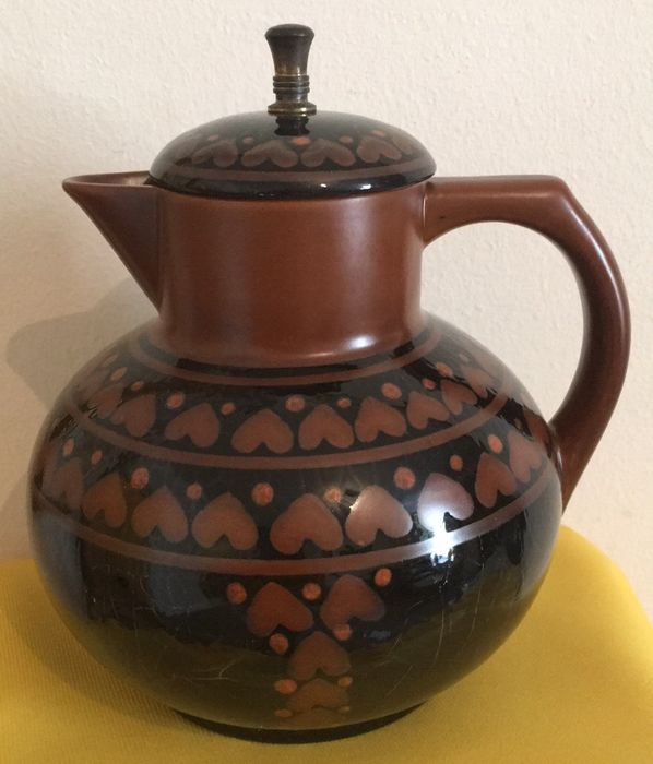 Circa 1911  - Antique German CHRISTIAN NEUREUTHER Waechtersbach Earthenware Pitcher