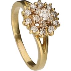 18 kt – Yellow gold rosette ring set with 16 brilliant cut diamonds of approx. 0.39 ct in total – Ring size:  16.75 mm