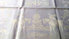 Vintage - white damask tablecloth with hunting motif + ten matching napkins.