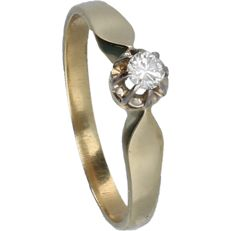 14 kt yellow gold ring, set with one brilliant cut diamond of approx. 0.10 ct - ring size: 16.75 mm