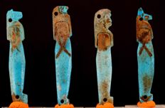 Egyptian blue faience set of the four Sons of Horus (Qebehsenuef/Duamutef/Hapi/Imsety) - ca. 5,8 cm - c. 2,28 inches  (4)
