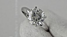 2.63 ct round diamond ring made of 14 kt white gold - size 7,5