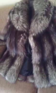 Original silver fox fur coat