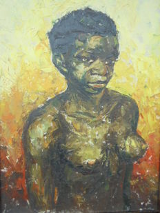 Oil Painting of  Beautiful Young African Girl - By  P.R..Stegman