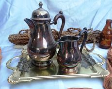 Set of coffee pot and milk jug on tray.  1970s