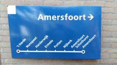 "Vintage Enamel ""obsolete"" NS station sign ""t Harde to Amersfoort"