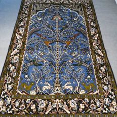 Special: Stunning life tree Ghom, Persian rug - 162 x 105 - superb appearance - with certificate.