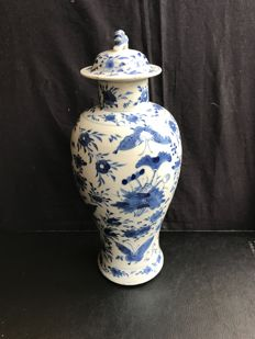 marked Blue white porcelain lid vase - China - 19th century